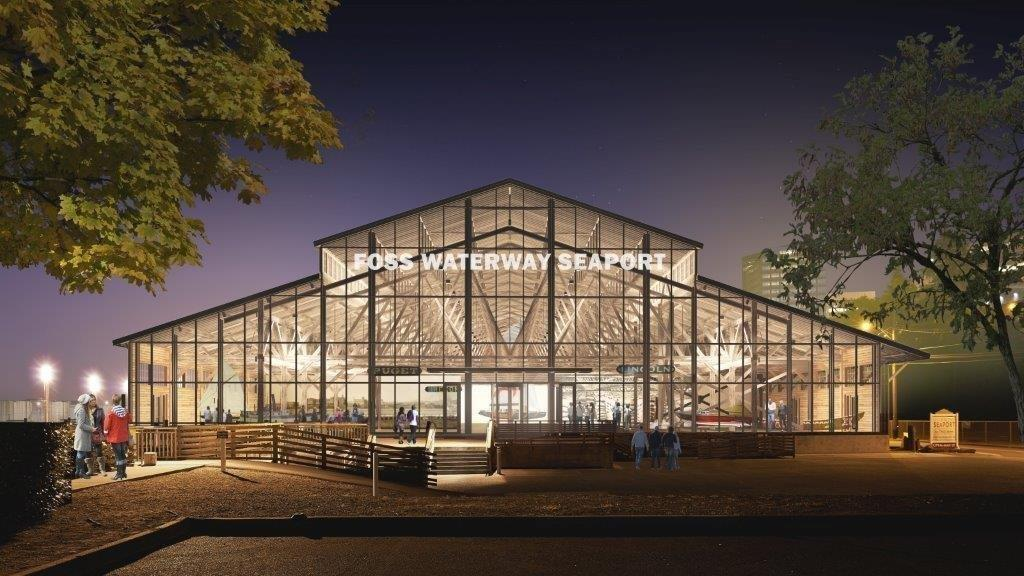 A rendering of the rehabilitated wheat warehouse that houses the museum