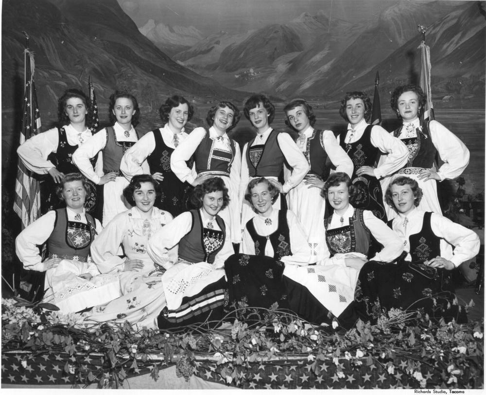 Image of the Normanettes, a Scandinavian singing group associated with Normanna Hall (ca. 1950, photo by Richards Studio).