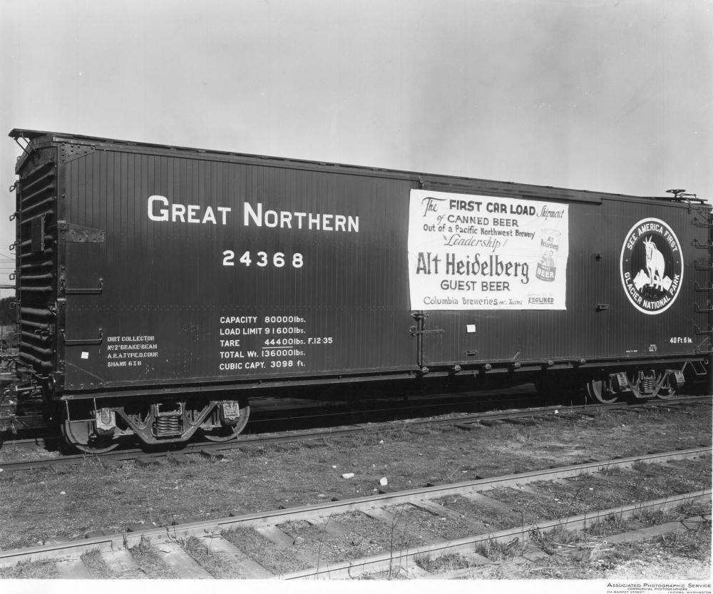 A train car advertising Heidelberg as the first purveyor of canned beer in Washington, Idaho, Oregon, and Alaska
