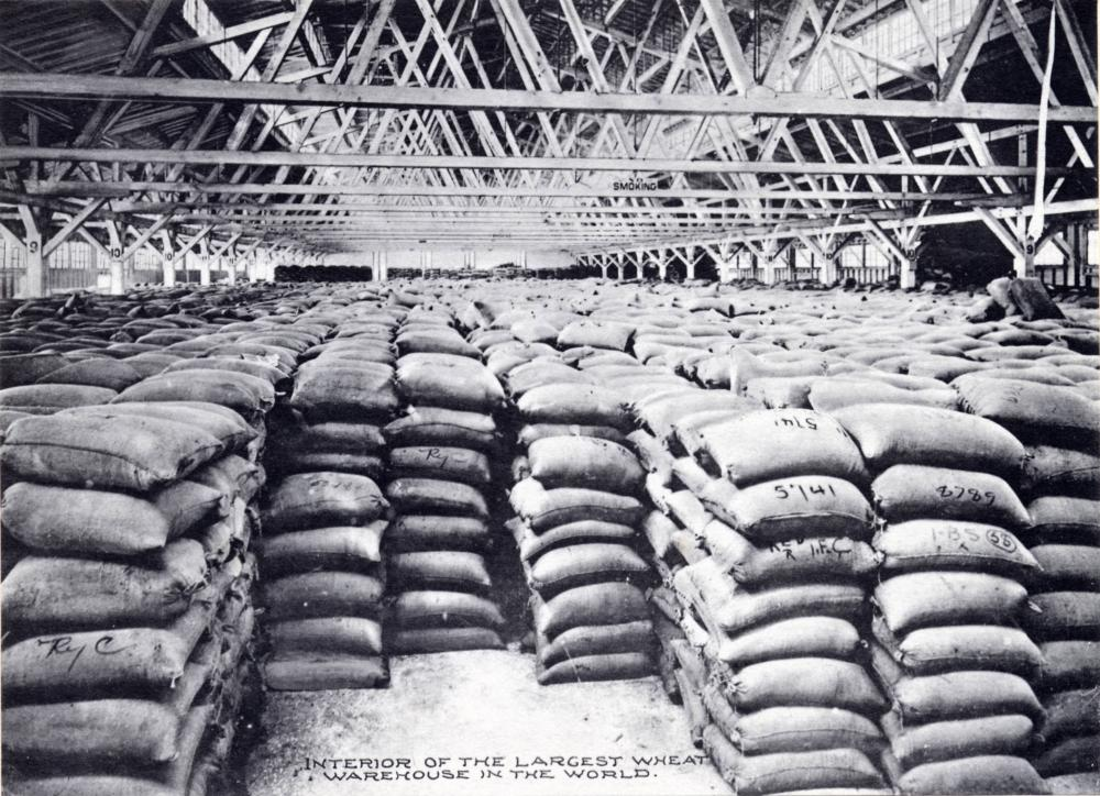 "Inside the Balfour Dock Building, the ""largest wheat warehouse in the world,"" ca. 1907."