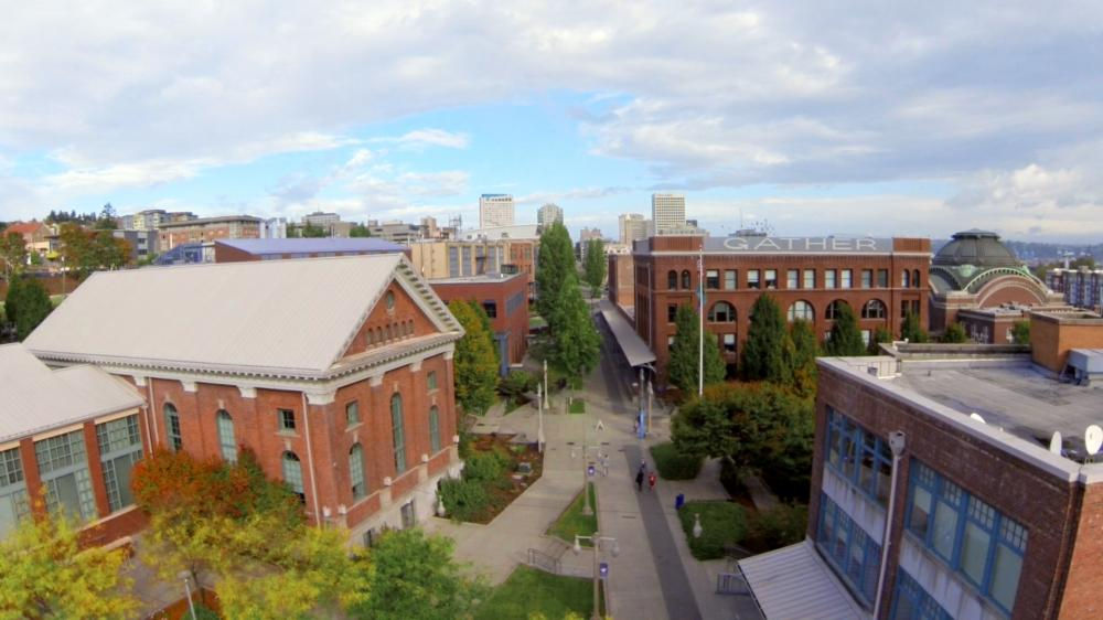 Aerial view of UW Tacoma campus, showing multiple rehabilitated historic warehouses on campus
